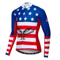 JPOJPO Cycling Jersey Men,USA Cycling Jersey Long Sleeve,Bike Jersey Full Zipper,Comfortable, Breathable and Quick-Dry