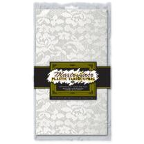 Masterpiece Plastic Lace Rectangular Tablecover (white) Party Accessory  (1 count) (1/Pkg)