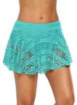 Aleumdr Womens Lace Crochet Swim Skirted Bikini Bottom Swimsuit Short Skort Swimdress