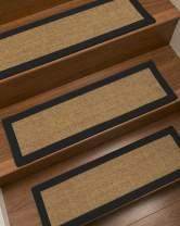 "Natural Area Rugs Gold/Multi Melrose DIY Pet Friendly Handmade Sisal Carpet Stair Treads/Rugs Safety Slip Resistant for Kids, Elders, and Dogs. 9"" x 29"" (4), Black Border"