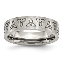ICE CARATS Stainless Steel Engraved Trinity Symbol Brushed 6mm Wedding Ring Band Designed Celtic Fashion Jewelry for Women Gift Set