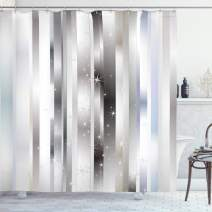 """Ambesonne Stripes Shower Curtain, Modern Composition with Vertical Color Bands and Vibrant Star, Cloth Fabric Bathroom Decor Set with Hooks, 70"""" Long, Blue Black"""