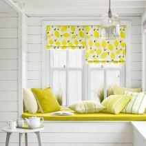 "KARUILU Roman Window Shades Window Blinds, Flat Fold, Washable, Custom Order Any Width from 14"" to 55"", (36W x 63H, Lemon)"