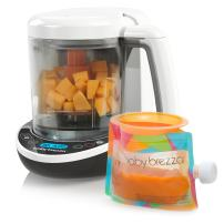 Baby Brezza Small Baby Food Maker Set – Cooker and Blender in One to Steam and Puree Baby Food for Pouches - Make Organic Food for Infants and Toddlers - Includes 3 Pouches and 3 Funnels