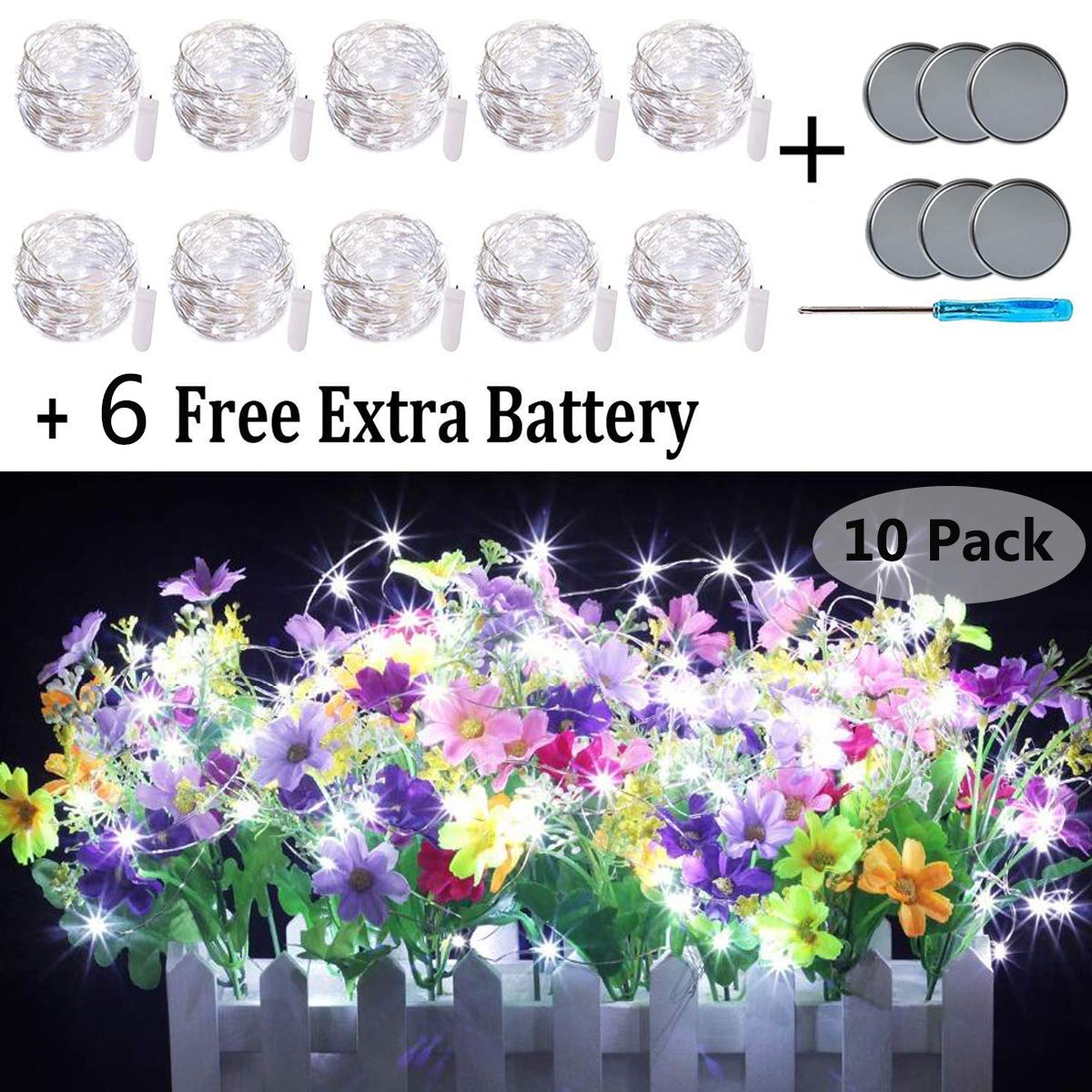 Fairy String Lights, 10 Pack 20 LED Fairy Lights Battery Operated Sliver Wire Lights + 6 PCS Extra Replacement Batteries with Starry Jar Lights for DIY Party Wedding Decorations (Cool White)