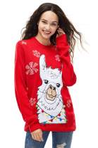 Unisex Ugly Women's Christmas Sweater Cute Animal Llama Reindeer Knitted Funny Pullover Santa