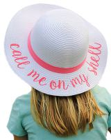 H-3017-CMOMS24 Girls Sun Hat with Chin Strap - Call Me on My Shell (White)