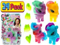 JA-RU Unicorn Little Rainbow Pony, Girls Toys Favors (24 Sets), Collection of Mini Ponies Plus 1 collectable Bouncy Ball #1220-24p