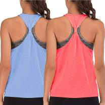 Workout Tank Tops for Women with Built in Bra Tanks Exercise Yoga Gym Shirts