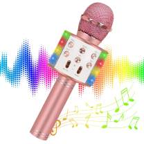 Wireless Bluetooth Karaoke Microphone for kids Adults,with LED Lights Speaker,5in1 Handheld Mic Machine for Christmas Birthday Gifts Toys for 6 7 8 9 10 11 12 Year Old Girls Boys teenagers(Rose Gold)