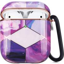 Airpods Case, Airpods Protective Hard Case Cover with Keychain Compatible with AirPods 2/1 Cute Girls Men Durable Shockproof Drop Proof Anti Lost Case for AirPods Charging Case (Electroplating Purple)