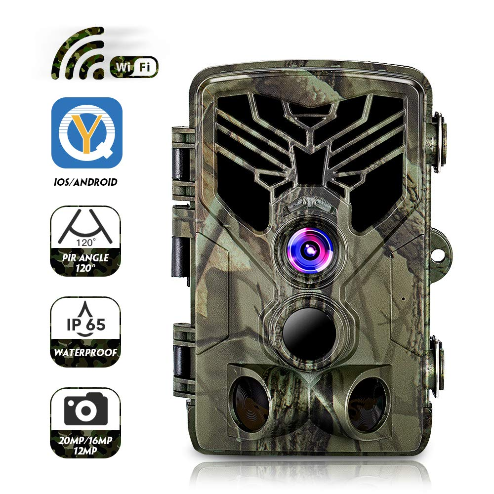 CAMVILD Trail Camera-WiFi 20MP 1080P Waterproof IP65 44 Infared LEDs Hunting Game Camera with 3 Infrared Sensors Night Vision Motion Activated for Outdoor Wildlife Monitoring