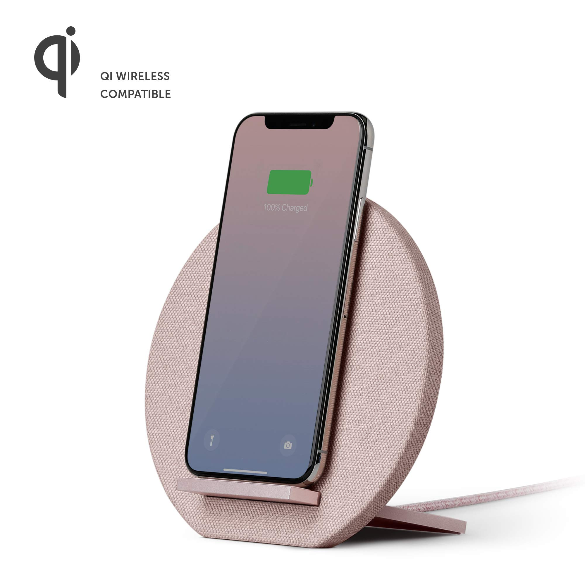 Native Union Dock Wireless Charger Stand - High Speed [Qi Certified] 10W Versatile Fast Wireless Charging Stand - Compatible with iPhone 11/11 Pro/11 Pro Max/Xs/XS Max/XR/X/8/8 Plus (Rose)