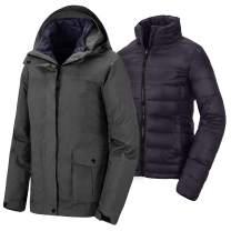 Wantdo Women's 3 in 1 Down Jacket Warm Winter Coat Waterproof Ski Rain Jacket