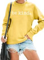 ASTANFY Be Kind Sweatshirt Womens Letter Print Pullover Long Sleeves Blessed Top Blouse