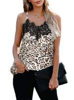 PINKMSTYLE Womens Summer Lace Camisole V Neck Leopard Printed Cami Tank Top Sleeveless Shirts Blouses