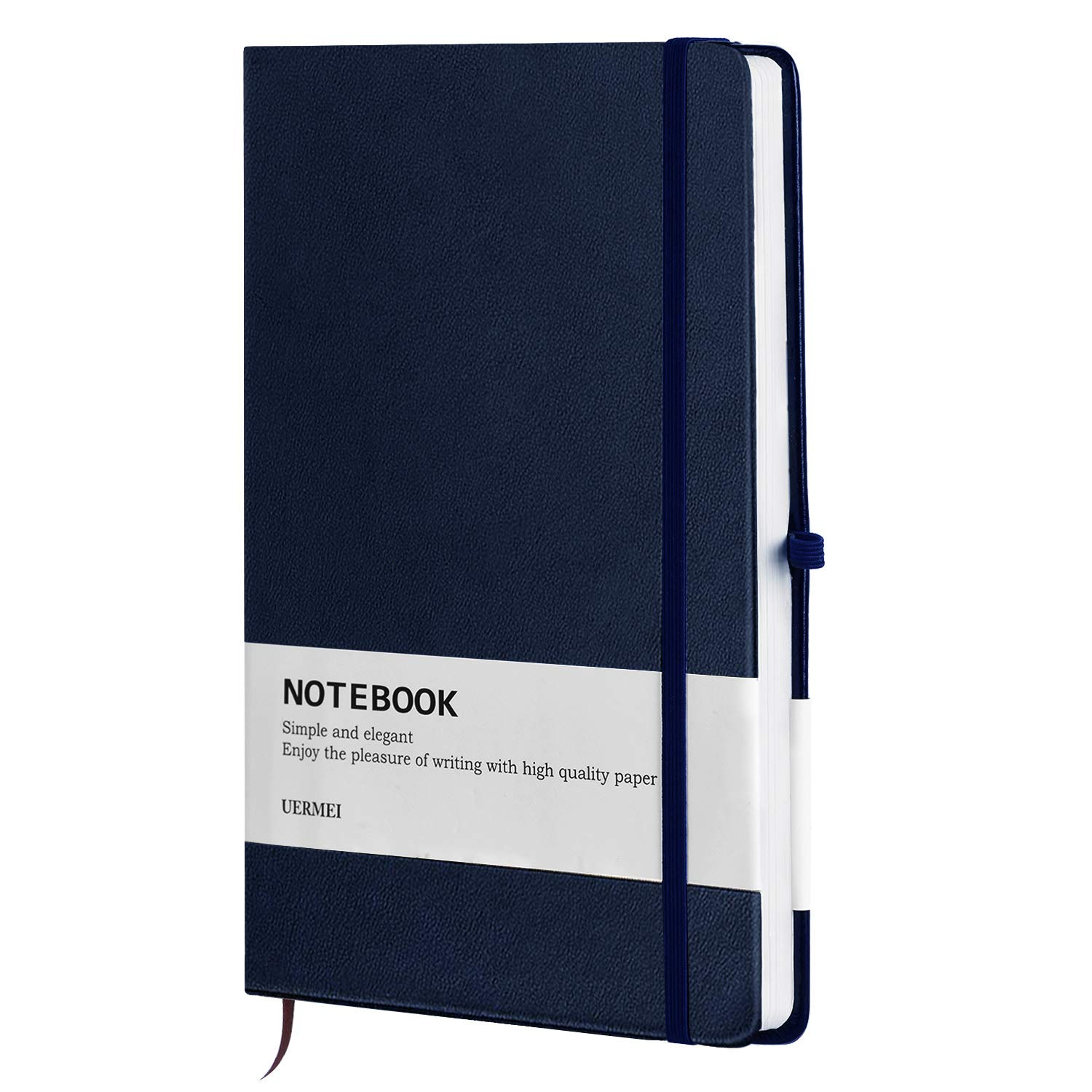 UERMEI A5 Ruled Hardcover Notebook/Journal with Pen Loop and PU Leather, Premium Thick Paper, 8.4 x 5.7 in, Blue