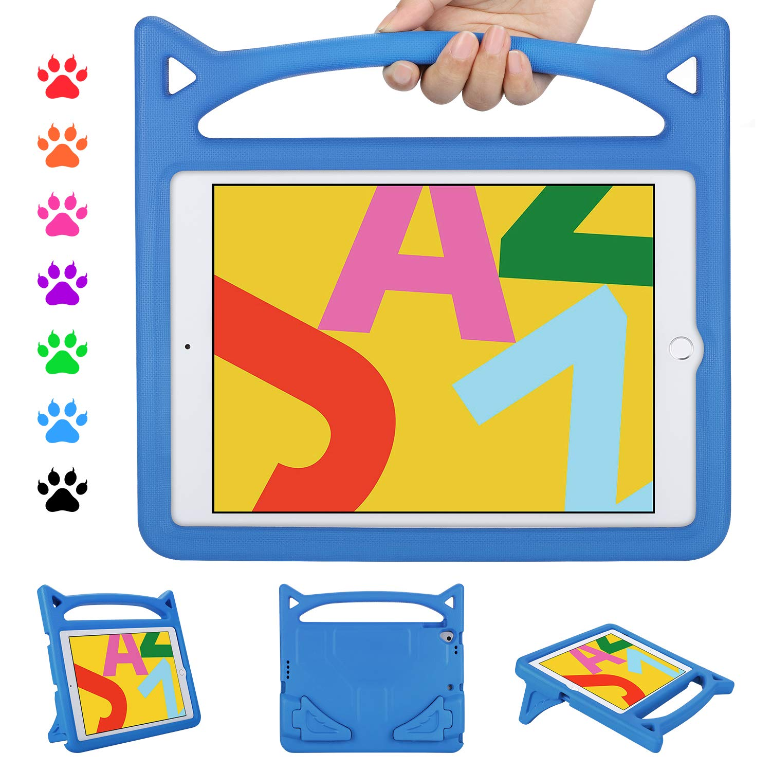 Kids Case for ipad 10.2 7th Generation, 10.2 inch 2019 Kids Case, Ubearkk Shockproof Light Weight Handle Stand Kids Friendly Case for ipad Pro 10.5 inch/ipad Air 3 10.5 inch (Blue)