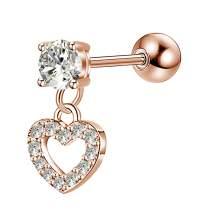 OUFER 16G 316L Stainless Steel Cartilage Earring Stud Heart Shape Dangle Helix Earrings Body Ear Piercing