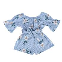 Kids Toddler Baby Girls Summer Outfit Off-Shoulder Overall Romper Jumpsuit Short Trousers Clothes
