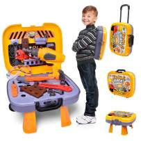 FUN LITTLE TOYS Kids Tool Sets with Electronic Cordless Drill, 36 Pieces Toy Tool Construction Set with Box Trolley, Pretend Play Tool Kit for Toddlers