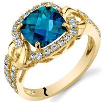 Created Alexandrite Cushion Halo Ring in 14K Yellow Gold (2.50 carat)