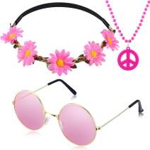 3 Pieces Hippie Accessory Set includes Peace Sign Bead Necklace, Flower Crown Headband, Hippie Sunglasses Party Costume for Women Men