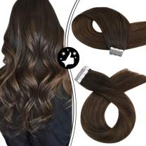 Tape in Hair Extensions Human Hair Moresoo Tape Hair Extensions Balayage Hair Extensions 22Inch Brown Hair Extensions Tape in Human Hair Extensions Brown Seamless Hair Extensions Straight 20pcs/50g