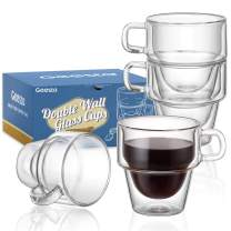 Geesta Insulated, Double-Wall Stackable Glass Cups 5oz Espresso Mugs with Thick Handles and Bonus Silicone Coasters(Set of 4)