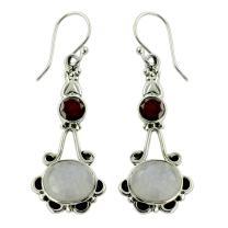 NOVICA Rainbow Moonstone and Garnet .925 Sterling Silver Dangle Earrings, Fresh Beauty'