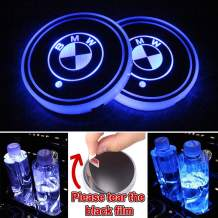Heart Horse LED Cup Holder Lights, Car Logo Coaster with 7 Colors Changing USB Charging Mat, Luminescent Cup Pad Interior Atmosphere Lamp Decoration Light for BMW Accessories (2 PCS, Waterproof)