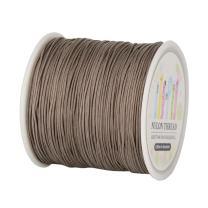 Pandahall 1 Roll(About 90m, 100 Yards) 0.8mm Nylon Beading String Knotting Cord, Chinese Knotting Cord Nylon Kumihimo Macrame Thread Beading Cord (Camel)