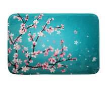 "Cherry Blossom Floral Memory Foam Bath Mat Sakura Flowers Plush Bathroom Decor Rug Thick Shaggy Bathroom Floor Carpet Absorbent, Super Cozy Non Slip Machine Wash and Dry, 16"" x 24"", Teal"