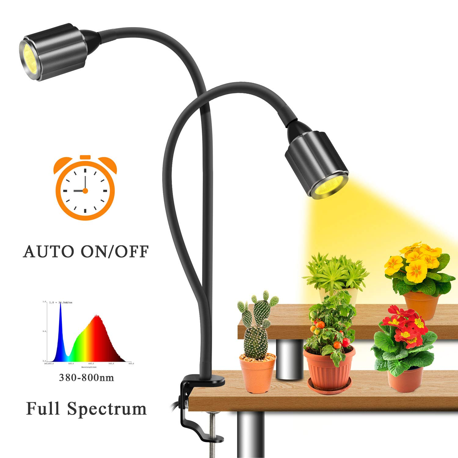 Grow Light for Indoor Plants,OBSESS 75W Dual Head LED COB Plant Grow Lamp 3/6/12H Timer 6 dimmable Level with C-clamp Rose Flower Shape Design Sunlike Full Spectrum Grow Light for Bonsai Succulent