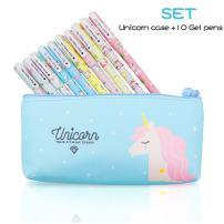 10 pcs Unicorn Flamingo Gel Pens Set with Unicorn Pen Pencil Case,Fine Point(0.5mm),Black Ink Color,Best Unicorn Gifts for Girls,Unicorn Theme Party Favors