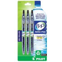 Pilot Bottle-2-Pen (B2P) Retractable Premium Gel Roller Pens Made from Recycled Bottles (3 Count) Fine Point, Black G2 Gel Ink, Refillable, Comfortable Grip (31607)