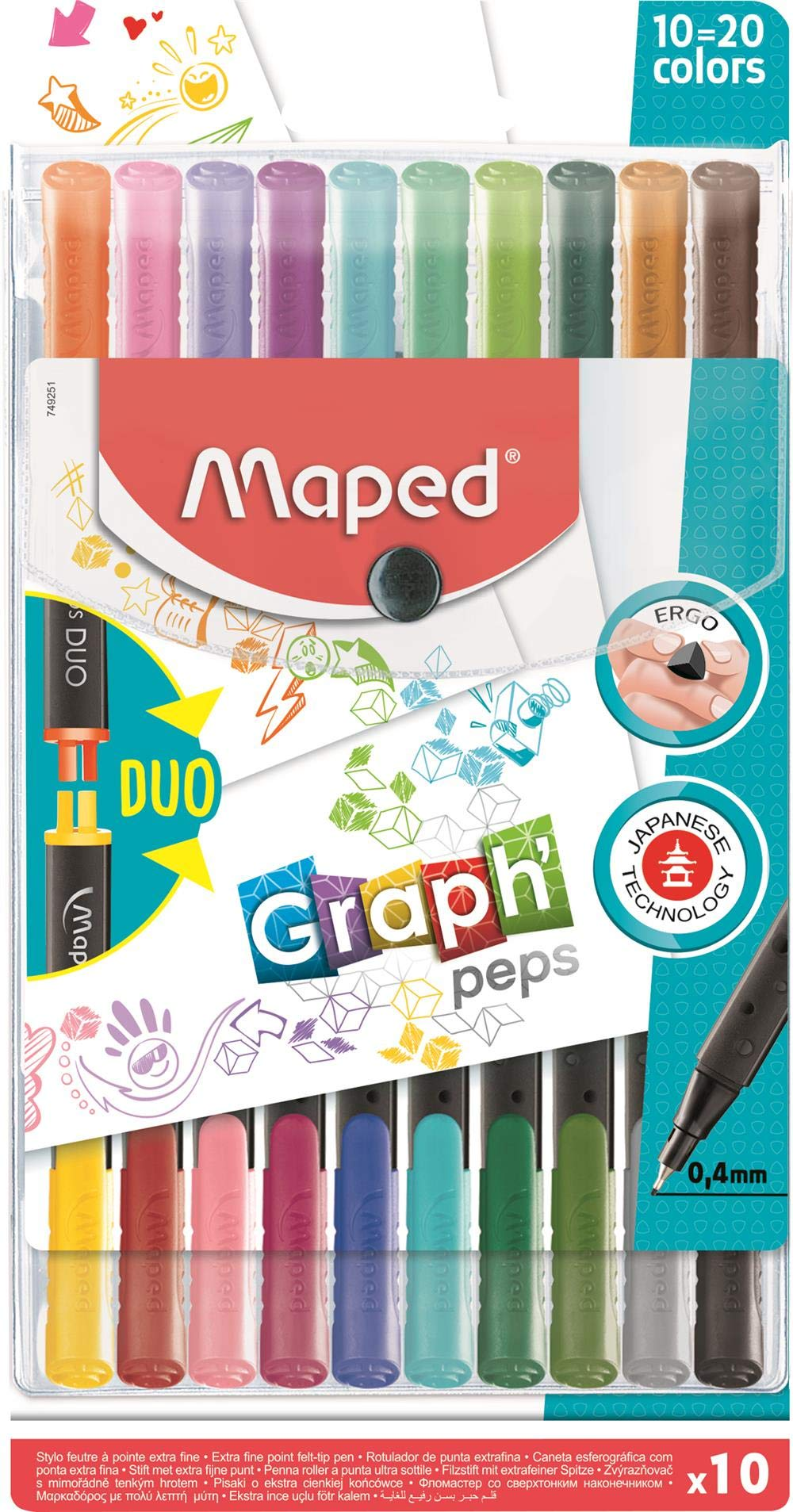 Maped Graph'Peps DUO Connect 0.4mm Fine Felt Tipped Pens, Pack of 20 (749251)