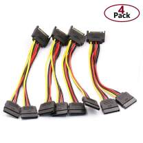 DaFuRui 4pcs SATA Power Splitter Cable,15 Pin Male to 15 Pin Dual Female Power Cable 8 Inches