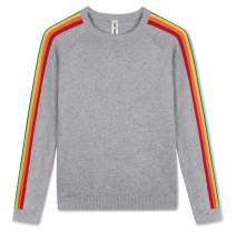 Kid Nation Boys' Pullover Sweater for Boys Cotton Long Sleeve Rainbow Knit Sweater for Size 4-12Y