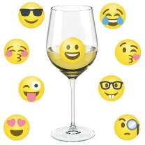 Emoji Wine Glass Drink Markers - 18 Static Clings Reusable Glass Stickers - For Wine Tasting Party, Wine Gift and Favors
