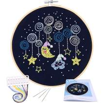 Full Range of Embroidery Starter Kit with Pattern, Kissbuty Cross Stitch Kit Including Stamped Embroidery Cloth with Pattern, Bamboo Embroidery Hoop, Color Threads and Tool Kit (Starry Sky)