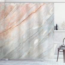 """Ambesonne Marble Shower Curtain, Onyx Stone Textured Natural Featured Scratches Illustration, Cloth Fabric Bathroom Decor Set with Hooks, 84"""" Long Extra, Peach Grey"""