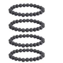 Tigerstar Natural Lava Rock Beads Bracelet,Stretch Elastic Bracelets,Adjustable Braided Rope Gemstone Bracelets for Men Women