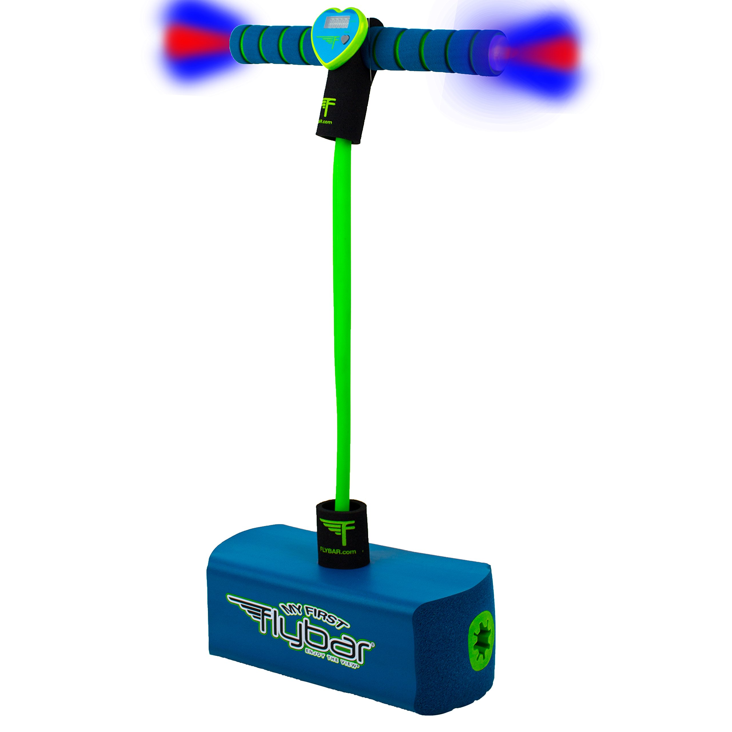 Flybar My First Foam Pogo Jumper for Kids Fun and Safe Pogo Stick for Toddlers, Durable Foam and Bungee Jumper for Ages 3 and up, Supports up to 250lbs (Blue LED)