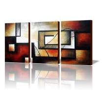 """ARTLAND Modern 100% Hand Painted Abstract Oil Painting on Canvas""""The Maze Of Memory"""" 3-Piece Gallery-Wrapped Framed Wall Art Ready to Hang for Living Room for Wall Decor Home Decoration 24x48inches"""
