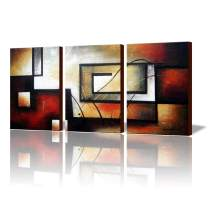 "ARTLAND Modern 100% Hand Painted Abstract Oil Painting on Canvas""The Maze Of Memory"" 3-Piece Gallery-Wrapped Framed Wall Art Ready to Hang for Living Room for Wall Decor Home Decoration 24x48inches"