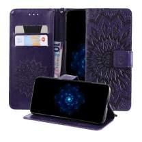MEUPZZK iPhone 8+ Plus Case, iPhone 7+ Plus Wallet Case, 3D Sunflower Premium PU Leather Kickstand Flip Phone Cover Card Holders & Wrist Strap Wallet Case for iPhone 7+ Plus 5.5 inch Purple