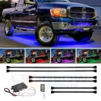 LEDGlow 6pc Million Color Multi-Color Truck LED Underbody Underglow Accent Lighting Kit - 18 Solid Colors - 12 Unique Patterns - Music Mode - Water Resistant - Includes Control Box & Remote