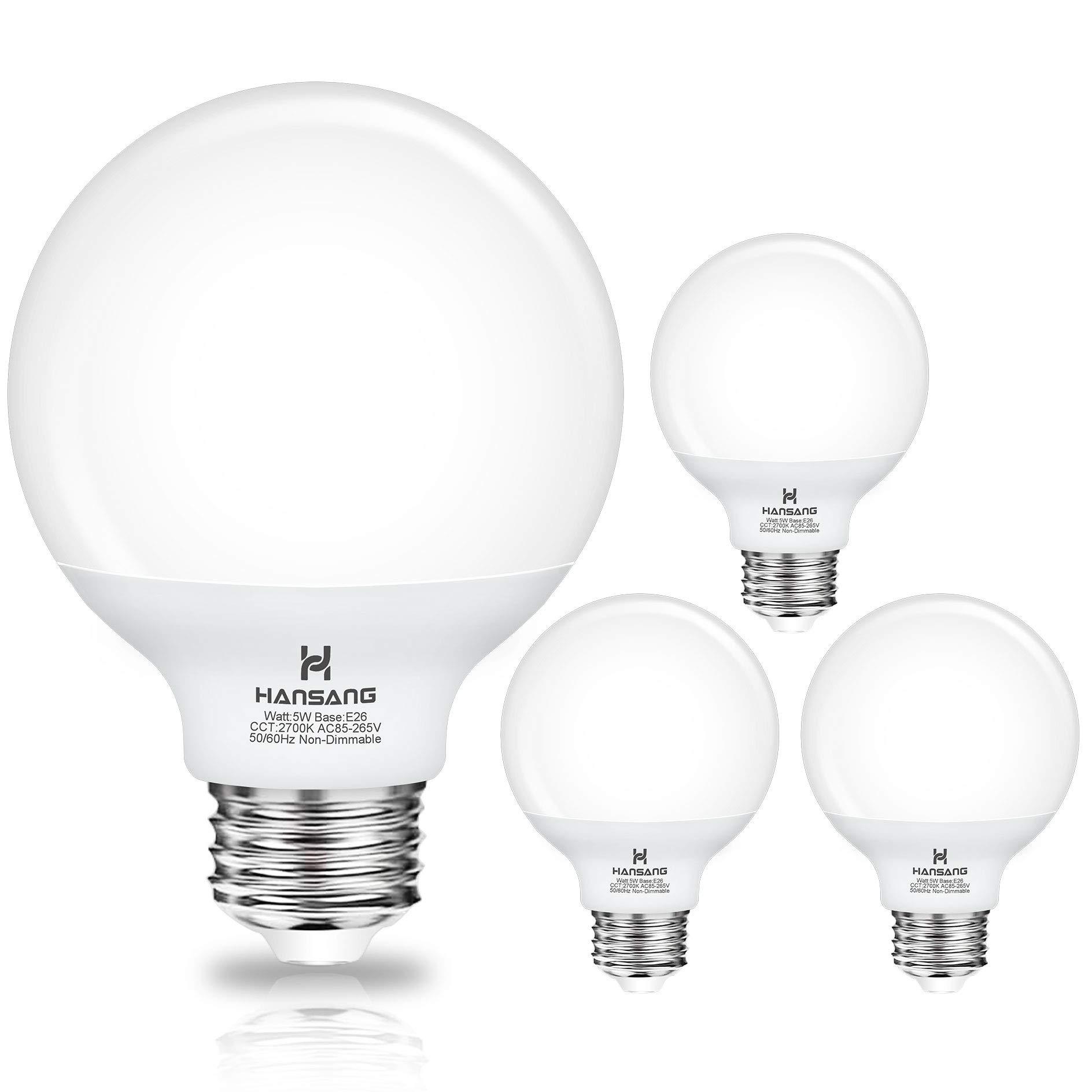 G25 LED Globe Light Bulbs, Hansang Bathroom Vanity Light Bulbs E26 Base Warm White 2700K for Bedroom Makeup Mirror Lights,60W Equivalent(5W),500LM,Non-dimmable,4Pack