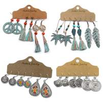 3~12 Pairs Bohemian Vintage Dangle Earrings Retro Colorful Tassel Earrings Boho Long Dangle Drop Earrings Set for Women Girls